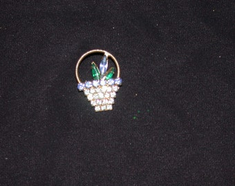 ON SALE Basket Brooch with Blue and Green Crystals