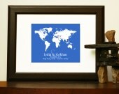 Christmas GIFTS FOR HUSBAND - World Map for a long distance relationship, engagement, wedding, anniversary.
