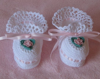 White and Pink Flower Booties