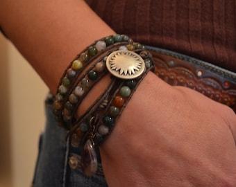 Fancy Jasper wrap bracelet 4 times Wrap Bracelet Boho Jewelry Rustic Bracelet Beaded Wrap Bracelet Gift