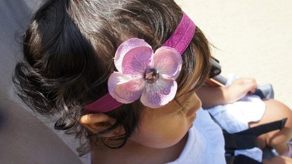 Pink and Purple Hydrangea Flower Headband, Baby headband, Baby Girl Headbands, Newborn Headband, Infant Headband