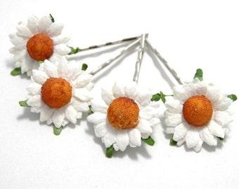 White Daisy Floral Hair Clip Set/ Bridal/ Wedding Hair Accessories/ Bridesmaid Bobby Pin/ Wedding Flower Pins