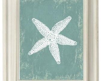 Digital Download, Grungy Blue Starfish Modern Art Print