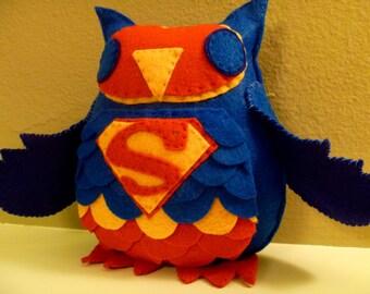 Superman Inspired Owl Plush