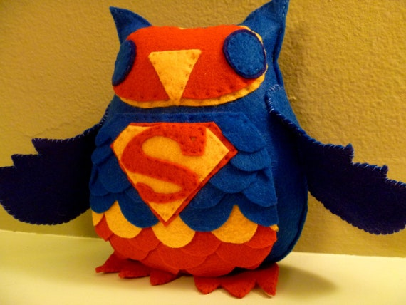 Superman Inspired Owl Plush