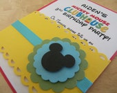Custom Order for (kunfis) - 10 Mickey Mouse Clubhouse Inspired Birthday Party, Handmade Invitation, Modern and Elegant