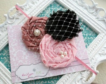 The Audrey Triple Rosette Headband, with pearls, rhinestones, French netting embellishments, made for infants,tddlers,girls,newborns