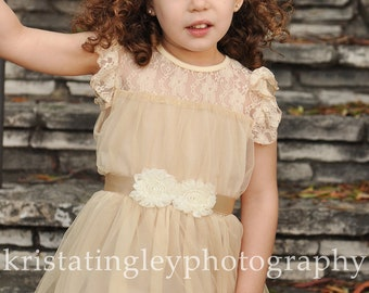 The Olivia Vintage Beige Flower Girl Lace Dress, made for girls, toddlers, infants, ages 2T,3T,4T,5T