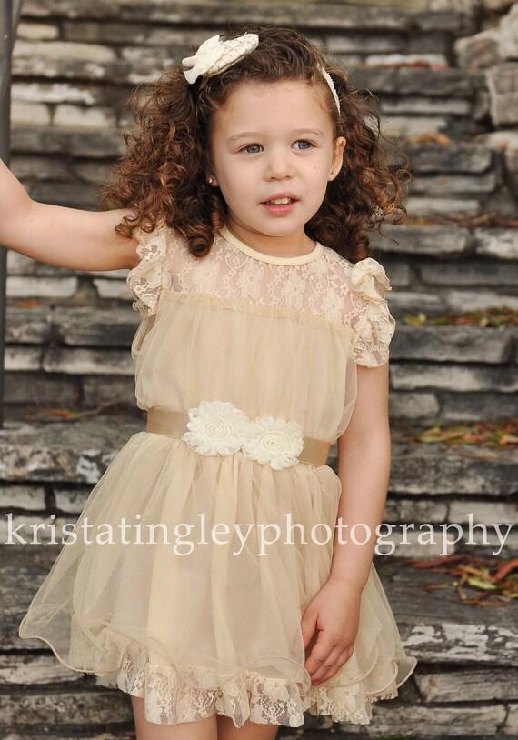 The Olivia Vintage Beige Flower Girl Lace Dress made for