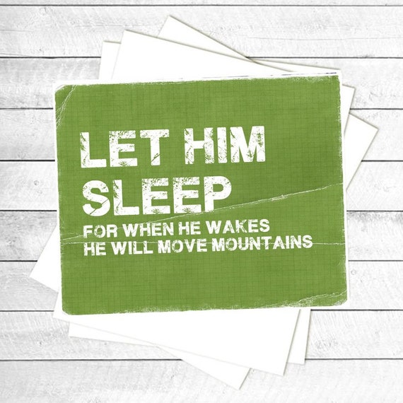 "Green Distressed ""Let Him Sleep"" Nursery decor, Vintage, Nursery Wall quote, typographic print, 8x10"" PDF"