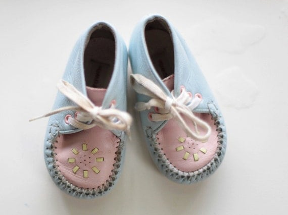 Buster Brown Baby Girl Pink And Blue Shoes