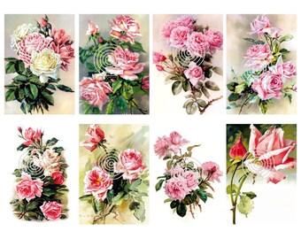 Flower Download  Vintage Pink Roses Digital Download Set of 8 Graphics