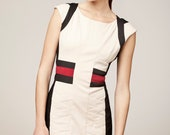 """White Cotton  """"Workplace Warrior"""" Dress with Black and Red Detail"""