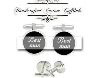 Groom team best man custom initial date men Cufflinks groomsmen Wedding Anniversary birthday brother grauation husband fiancée cuff link