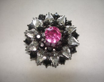 Vintage Black with Clear and Pink Rhinestone Brooch