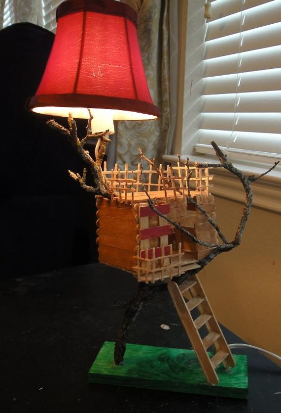 Treehouse night light lamp popsicle stick wood by for How to build a treehouse with sticks