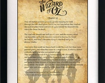 Wizard of Oz Dorothy Quote Art Book Print - A3 or A4 Large Vintage Page Effect Wall Quote.
