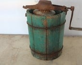 Prairie Famhouse Primitive Green Wooden Ice Cream Maker