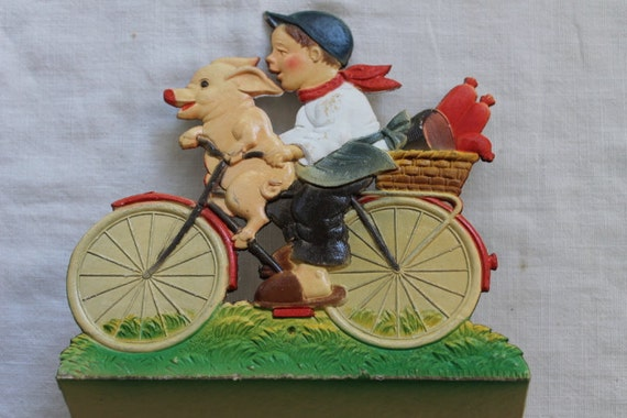 Vintage Embossed Boy with Pig on Bicycle Calendar Picture