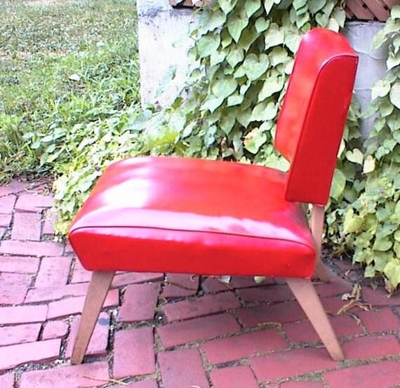 Vtg 50s Atomic Viking Artline Red Vinyl Slipper Chair Mid