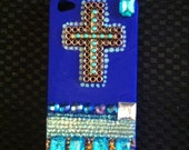 Hand made Blue Jeweled  cross iphone 4 or 4S case