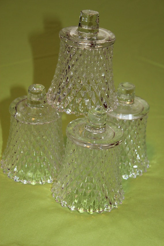 Set 4 Home Interiors Homco Clear Votive Cups Candle Sconces / Diamond