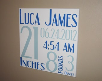 Canvas Wall Hanging, Boy Birth Announcement, Canvas Birth Announcement