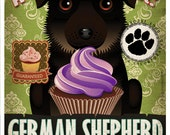 German Shepherd Cupcake Company Original Art Print - Custom Dog Breed Art - 11x14 - Personalize with Your Dog's Name - Dogs Incorporated