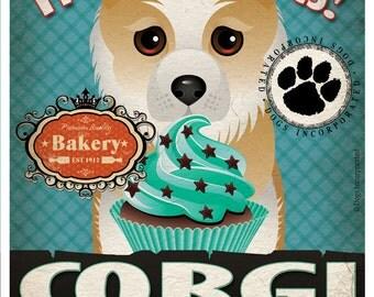 Corgi Cupcake Company Original Art Print - Custom Dog Breed Print -11x14- Customize with Your Dog's Name - Dogs Incorporated