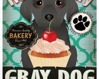 Gray Dog Cupcake Company Original Art Print - Gray Dog Art - 11x14 - Personalize with Your Dog's Name - Dogs Incorporated