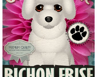 Dogs and Flowers Art Print - Bichon Frise Art Print 11 x 14