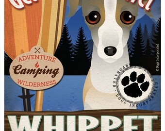 Whippet Wilderness Dogs Original Art Print - Personalized Dog Breed Art -11x14- Customize with Your Dog's Name - Dogs Incorporated