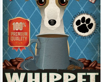 Whippet Coffee Bean Company Original Art Print - 11x14- Personalize with Your Dog's Name