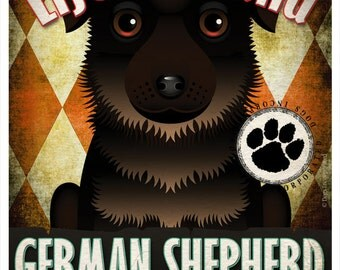 German Shepherd Pampered Pups Original Art Print - 11x14 - Dog Poster - Dogs Incorporated