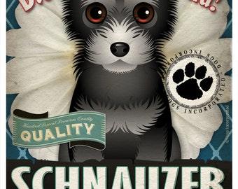 Dogs and Flowers Art Print - Schnauzer Wall Art Print 11 x 14