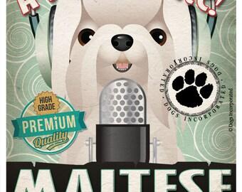 Maltese Recording Studio Original Art Print - Custom Dog Breed Print 11x14