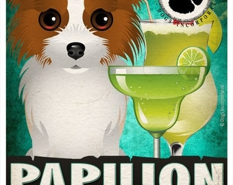 Papillon Drinking Dogs Original Art Poster Print - Personalized Dog Wall Art -11x14- Customize with Your Dog's Name - Dogs Incorporated