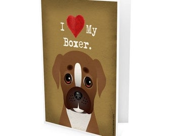 I Love My Boxer Company Greeting Card - I Heart My Dog Note Cards (pack of 6) - includes  6 Color-Coordinated Envelopes