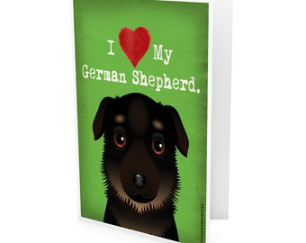 I Love My German Shepherd Company Greeting Card - I Heart My Dog Note Cards (pack of 6) - includes  6 Color-Coordinated Envelopes
