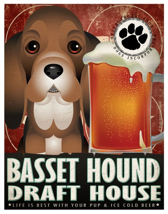 Basset Hound Drinking Dogs Original Art Poster Print - Personalized Dog Wall Art -11x14- Customize with Your Dog's Name - Dogs Incorporated