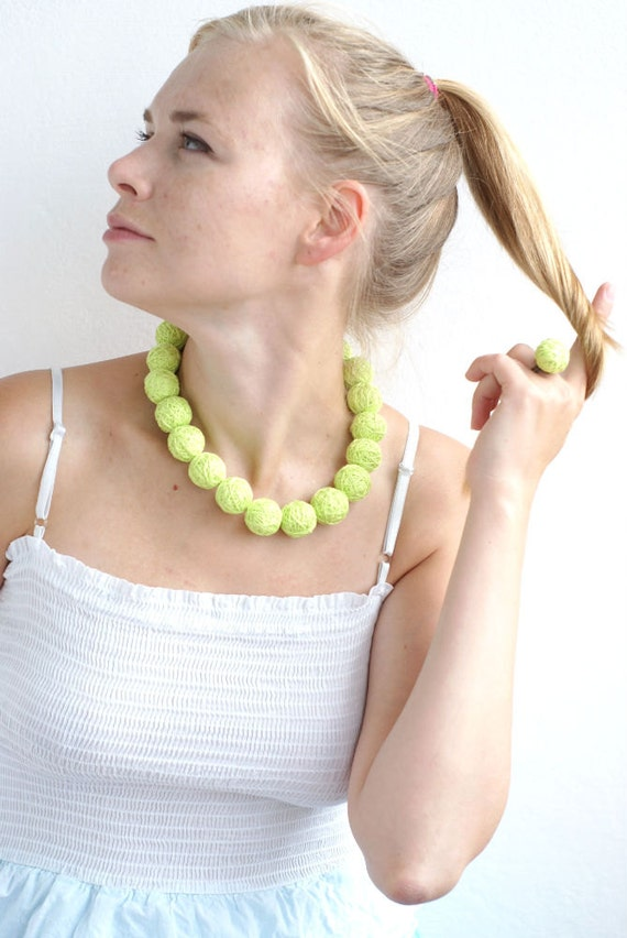 Set Neon balls handmade beaded - necklace and ring thread cotton for women fiber natural geometric
