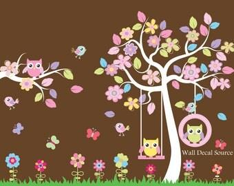 Nursery Tree Wall Decal, Animal Wall Decals, Nursery Wall Decals, Tree Wall Decal, Owl Wall Decals, Large Tree Decal, nursery decals, baby