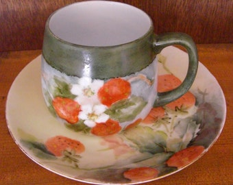 SALE Bavarian 1910-1927 Antique Strawberry Hand Painted Cup and Handpainted Mug