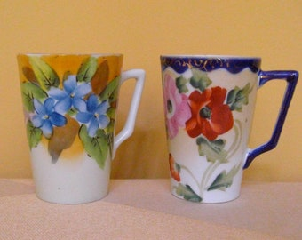 Set of Two (2) Vintage 1940's Era Japanese Hand Painted Lemonade Cups