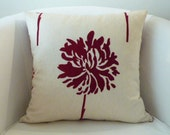 Decorative ooak pillow 18x18 inch made of canvas in a natural background with deep red stamped flowers,handmade cushion cover.