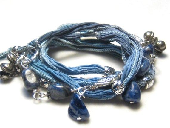 Gypsy Boho Sodalite Blue Silk Ribbon Necklace Bracelet