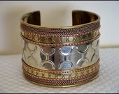 Vintage Ethnic TRIBAL Bracelet Brass and Mixed Metal GYPSY Cuff - 2 inches Wide
