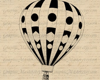 Hot Air Balloon PNG JPG Vintage Digital Collage Sheet Instant Download Image Printable Graphics Iron On Transfer Prints Pillows Towels A0151
