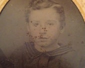 Vintage CDV Tintype of a Boy Wearing What Looks Like a Uniform with Hand Tinted Cheeks