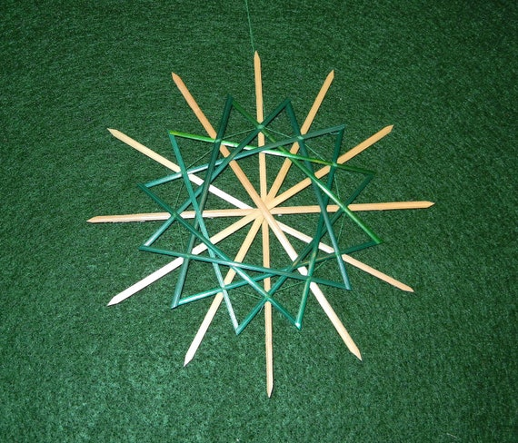 Special order for Janneke - Traditional German 12-pointed Straw Star or Snowflake Decoration:  Natural & Green (4.25 in)  item 5-3002